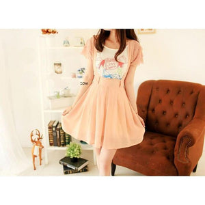 Kawaii High Waist Suspender Skirt [5 Colors] #JU1966-Peach-S-Juku Store