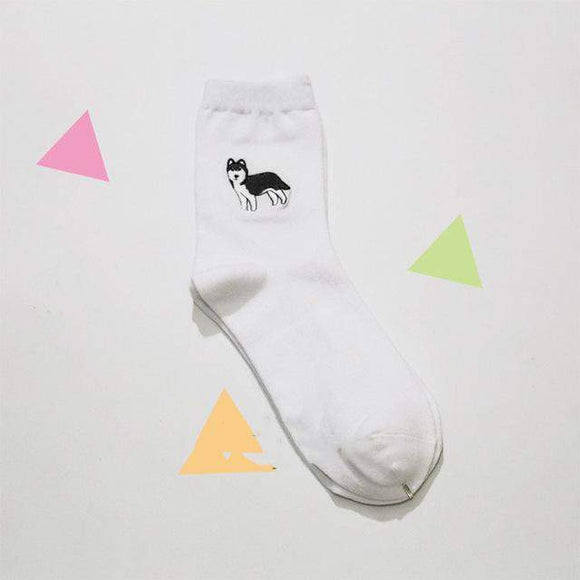 Kawaii Husky Dog Socks #JU1925-Juku Store