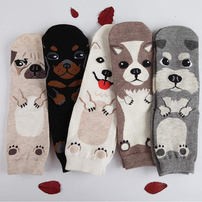 Kawaii Japanese Dog Print Soft Socks [5 Colors] #JU1912-Juku Store