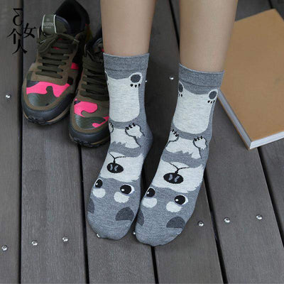 Kawaii Japanese Dog Print Soft Socks [5 Colors] #JU1912-Gray-One Size-Juku Store