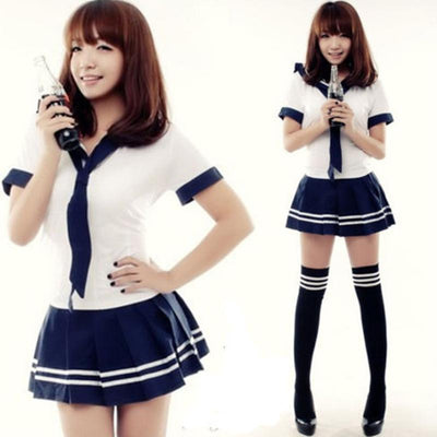 Kawaii Japanese Sailor School Uniform Skirt & Tie Cosplay Seifuku #JU2104-One Size-Juku Store