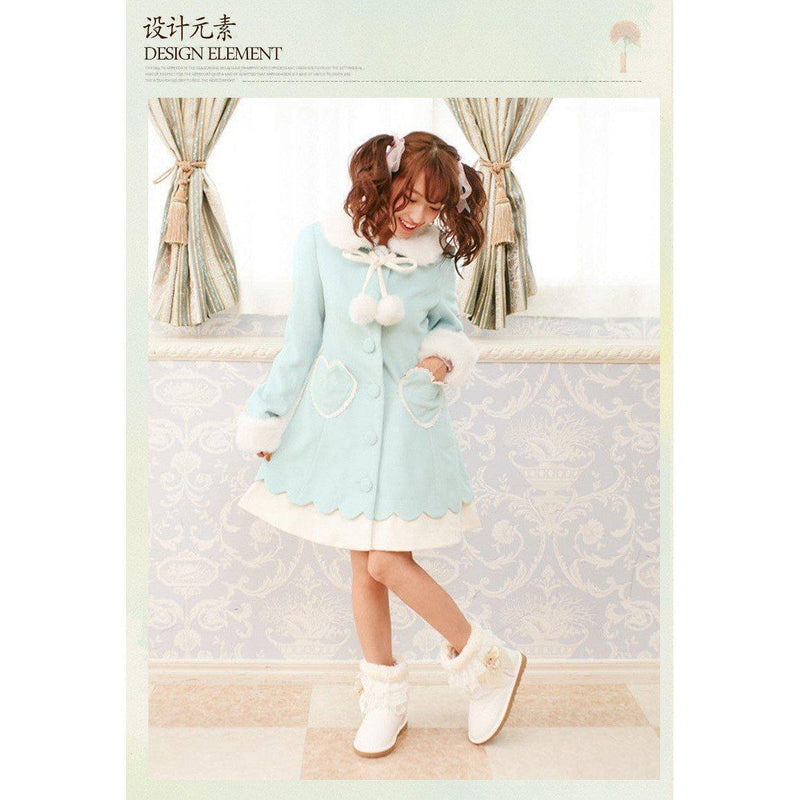 Kawaii Lolita Long Wool Pastel Winter Coat Fuzzy Soft [2 Colors] #JU2075-Sky Blue-One Size-Juku Store