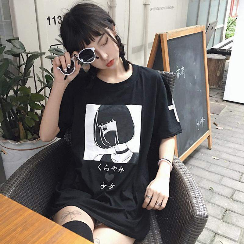 Kawaii Menhera Yami Kurayami T-Shirt [2 Colors] #JU1942-Black-One Size-Juku Store