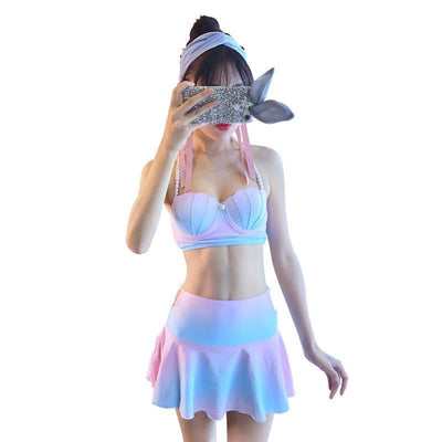 Kawaii Mermaid Sea Shell Bikini Swimwear Set [4 Styles] #JU1914-Tube Top Skirt Bottom-S-Juku Store