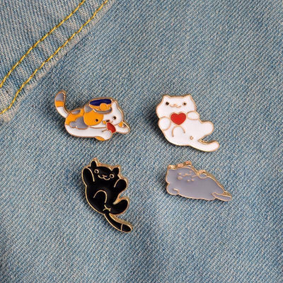 Kawaii Neko Atsume Cat Heart Backpack Pin Clips #JU2003-Juku Store