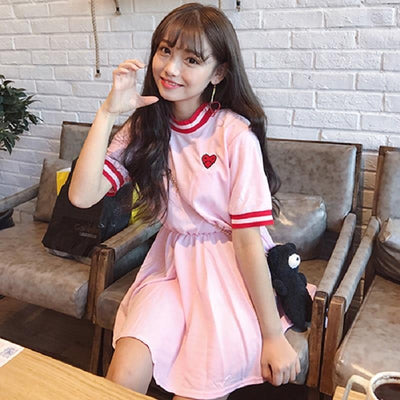 Kawaii New Love Heart Emboridered Dress Japanese Summer Outfit #JU2707-Juku Store