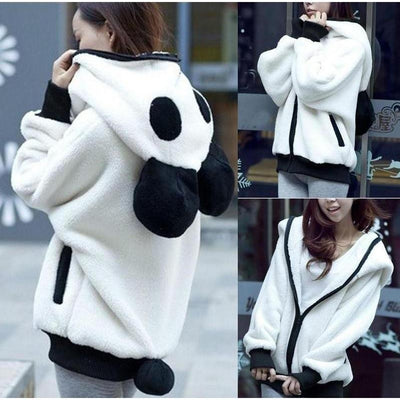 Kawaii Oversized Soft Fleece Panda Hoodie Jacket #JU2087-Juku Store