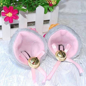 Kawaii Pastel Cat Ear Hair Clip Headband [6 Colors] #JU2004-Grey-Juku Store