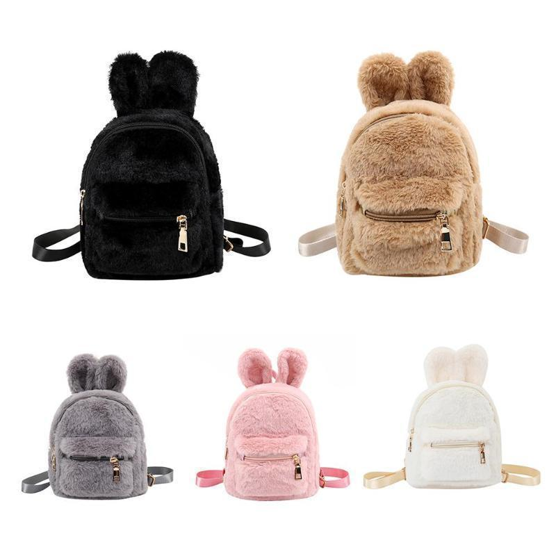 Kawaii Rabbit Ears Mini Plush Backpack [5 Colors] #JU2377-Juku Store