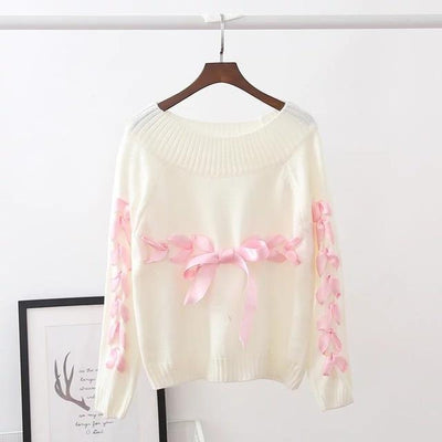 Kawaii Ribbon Bow Lace Up Knitted Sweater [3 Colors] #JU2357-Beige-One Size-Juku Store