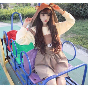 Kawaii Rilakkuma Bear Dress Overall Hoodie Cosplay #JU1939-Juku Store