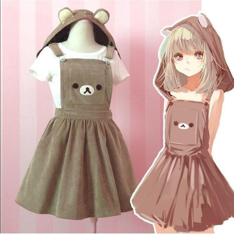 Kawaii Rilakkuma Bear Dress Overall Hoodie #JU1939-S-Juku Store