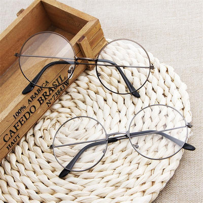 Kawaii Round Metal Frame Clear Lens Glasses [3 Colors] #JU2185-Juku Store