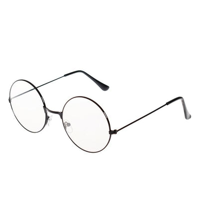 Kawaii Round Metal Frame Clear Lens Glasses [3 Colors] #JU2185-Black-Juku Store