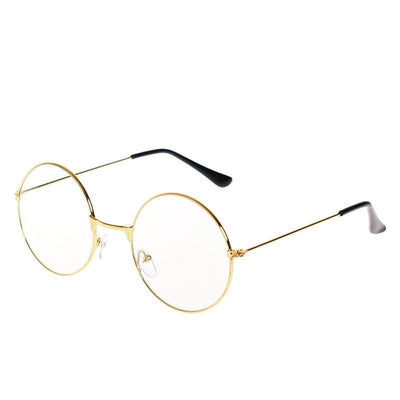Kawaii Round Metal Frame Clear Lens Glasses [3 Colors] #JU2185-Gold-Juku Store