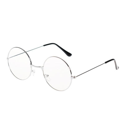 Kawaii Round Metal Frame Clear Lens Glasses [3 Colors] #JU2185-Silver-Juku Store