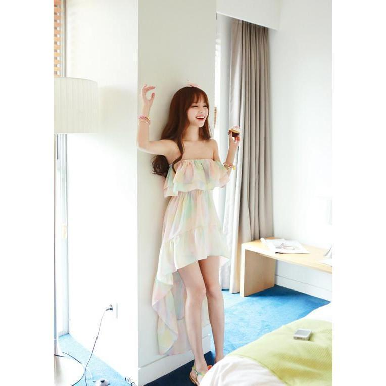 Kawaii Ruffle Strapless Summer Dress Multicolor Outfit #JU2747-Juku Store
