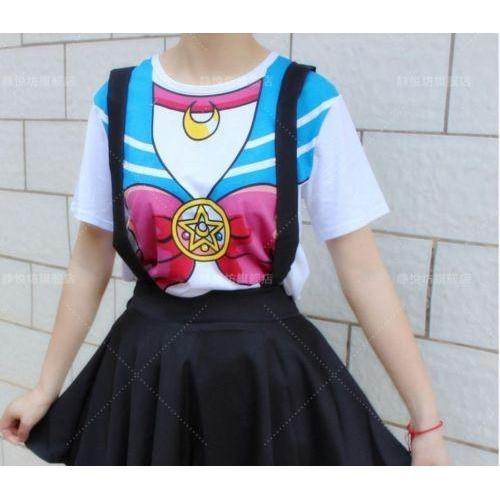 Kawaii Sailor Moon Bowknot Short Sleeve T-Shirt Cosplay [2 Colors] #JU2092-Blue-S-Juku Store