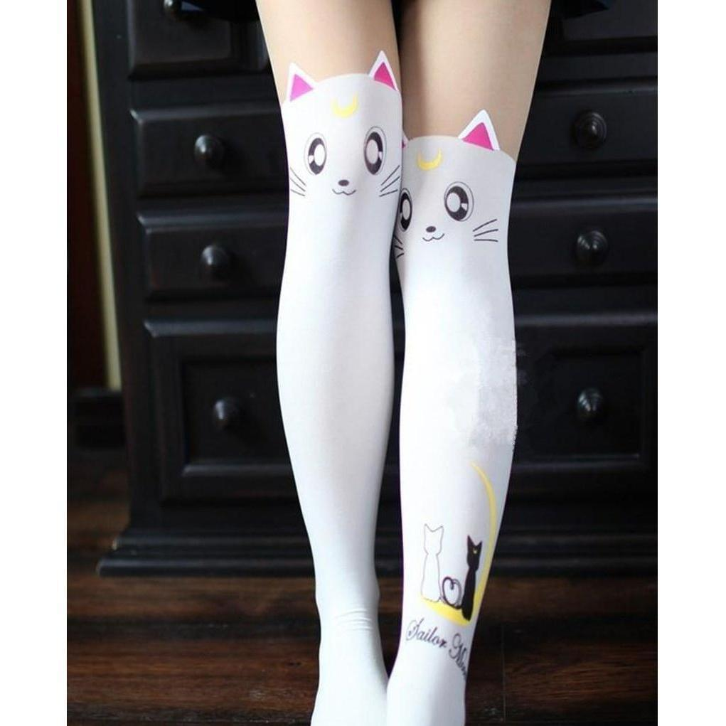 Kawaii Sailor Moon Cat Luna And Artemis Tights Pantyhose [2 Colors] #JU2331-White-Juku Store