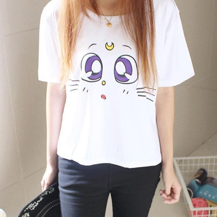 Kawaii Sailor Moon Luna Cat Eyes T-Shirt #JU2093-One Size-Juku Store