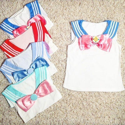 Kawaii Seifuku Sailor Moon Top Cosplay T-Shirt [4 Colors] #JU2005-Blue-One Size-Juku Store