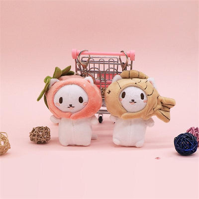 Kawaii Snapper Fish Plush Head Neko Key Chain #JU3041-Juku Store
