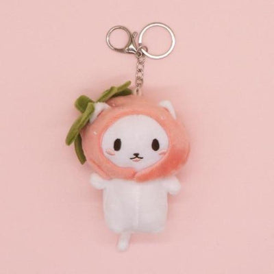 Kawaii Snapper Fish Plush Head Neko Key Chain #JU3041-Pink-Juku Store