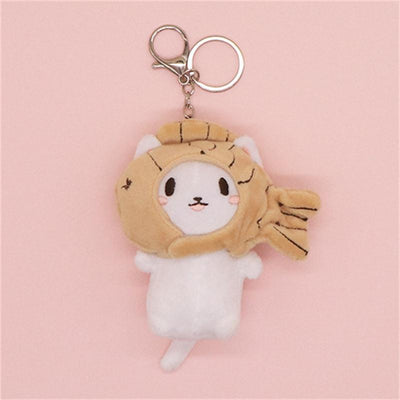 Kawaii Snapper Fish Plush Head Neko Key Chain #JU3041-Yellow-Juku Store
