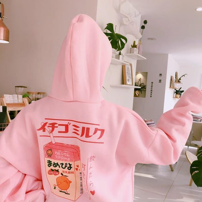 Kawaii Strawberry Milk Cartoon Back Printed Hoodie #JU2301-One Size-Juku Store