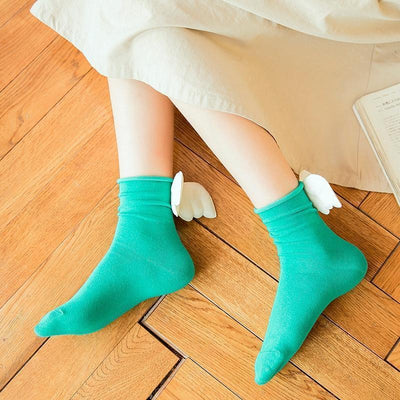 Kawaii Sweet Angel Wings Soft Cotton Socks #JU2945-Juku Store