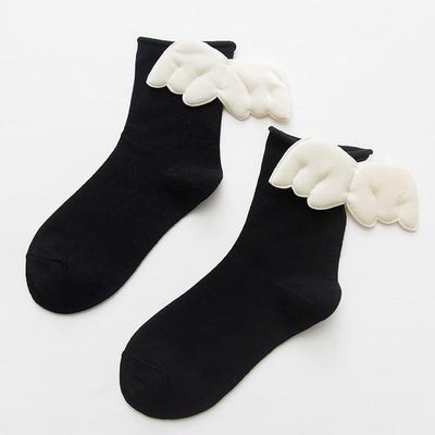 Kawaii Sweet Angel Wings Soft Cotton Socks #JU2945-Black-European Size 35-43-Juku Store