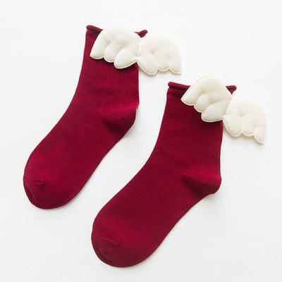 Kawaii Sweet Angel Wings Soft Cotton Socks #JU2945-Burgundy-European Size 35-43-Juku Store