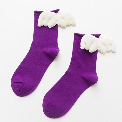Kawaii Sweet Angel Wings Soft Cotton Socks #JU2945-Dark Purple-European Size 35-43-Juku Store