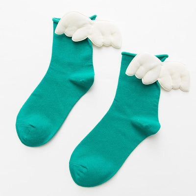 Kawaii Sweet Angel Wings Soft Cotton Socks #JU2945-Green-European Size 35-43-Juku Store