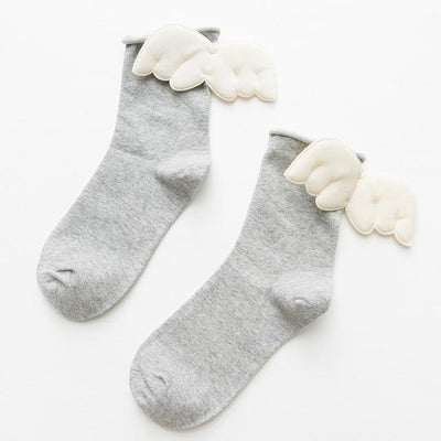 Kawaii Sweet Angel Wings Soft Cotton Socks #JU2945-Light Gray-European Size 35-43-Juku Store