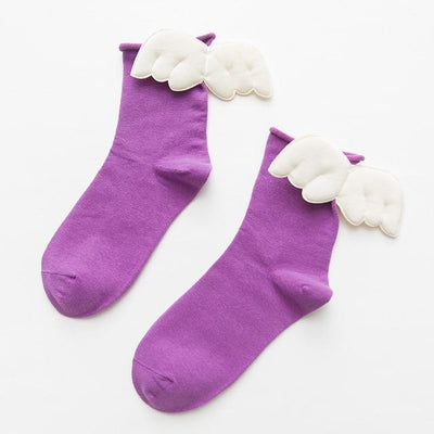 Kawaii Sweet Angel Wings Soft Cotton Socks #JU2945-Light Purple-European Size 35-43-Juku Store