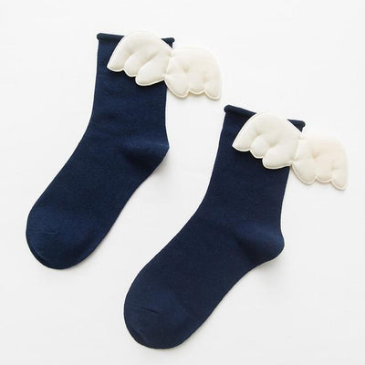 Kawaii Sweet Angel Wings Soft Cotton Socks #JU2945-Navy Blue-European Size 35-43-Juku Store