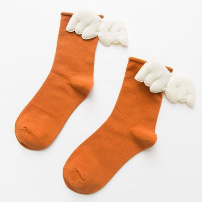 Kawaii Sweet Angel Wings Soft Cotton Socks #JU2945-Orange-European Size 35-43-Juku Store