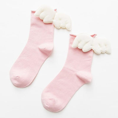 Kawaii Sweet Angel Wings Soft Cotton Socks #JU2945-Pink-European Size 35-43-Juku Store