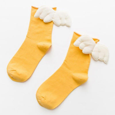 Kawaii Sweet Angel Wings Soft Cotton Socks #JU2945-Yellow-European Size 35-43-Juku Store
