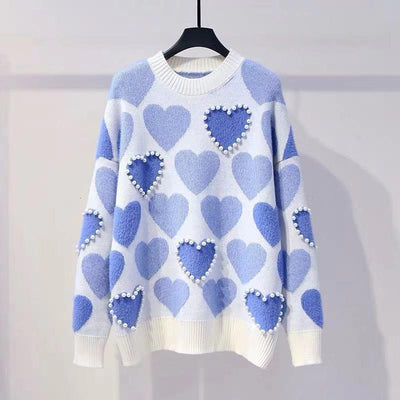 Knitted Pearl Beading Heart Sweater Kawaii Pullover #JU2951-Blue-One Size-Juku Store