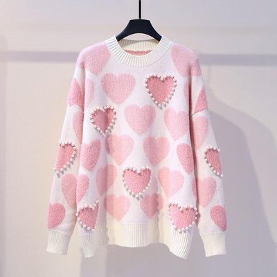 Knitted Pearl Beading Heart Sweater Kawaii Pullover #JU2951-Pink-One Size-Juku Store
