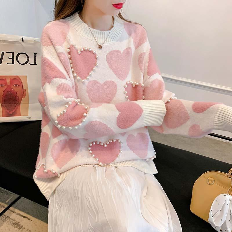 Knitted Pearl Beading Heart Sweater Kawaii Pullover #JU2951