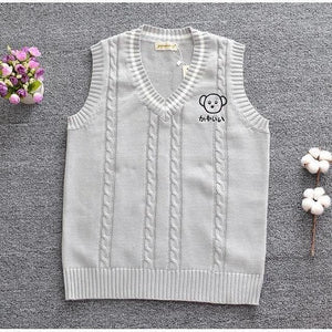 Koala Embroidery Knitted Sleeveless Vest #JU2370-S-Juku Store