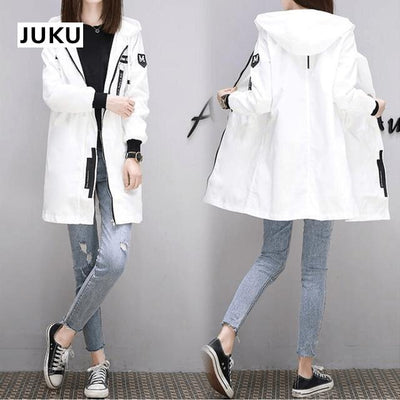 Korean Baseball Windbreaker Cute Kpop Outerwear #JU2897-White-S-Juku Store