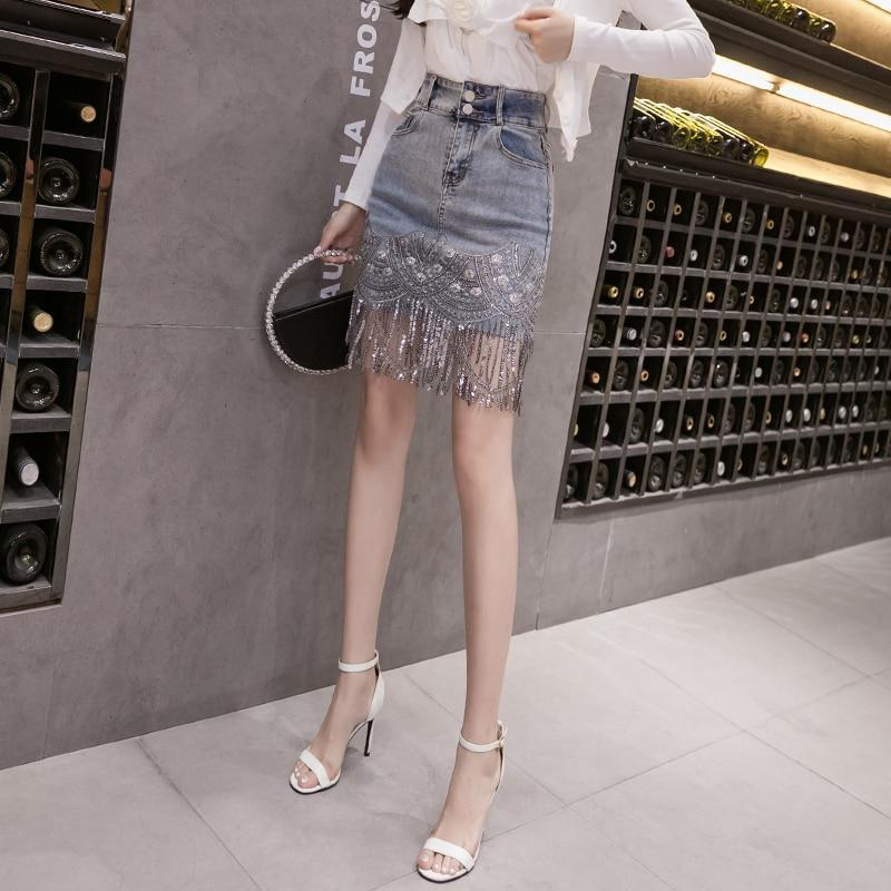 Korean Beading Tassel Skirt High Waist Mini #JU2830-S-Juku Store