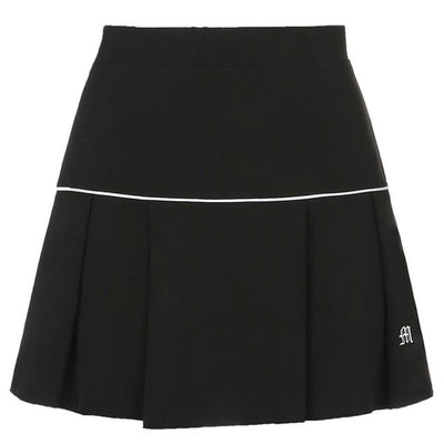 Korean Fashion High Waist Casual Mini Skirt #JU2981-Black-M-Juku Store