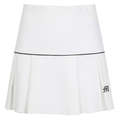 Korean Fashion High Waist Casual Mini Skirt #JU2981-White-L-Juku Store