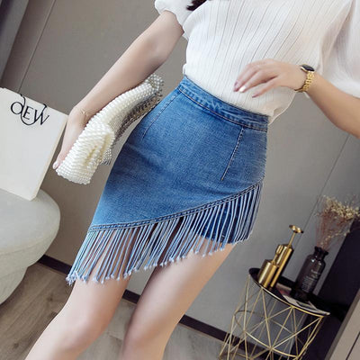 Korean Fringe Denim Skirt Asymmetrical Mini #JU2667-Juku Store