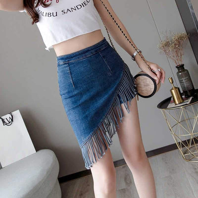 Korean Fringe Denim Skirt Asymmetrical Mini #JU2667-Blue-L-Juku Store